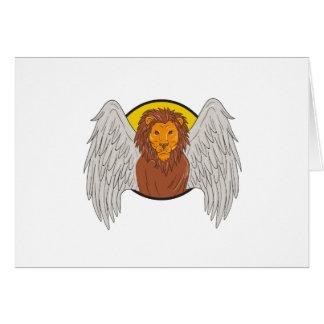 Winged Lion Head Circle Drawing Card