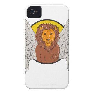 Winged Lion Head Circle Drawing Case-Mate iPhone 4 Cases