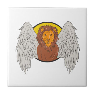 Winged Lion Head Circle Drawing Ceramic Tiles