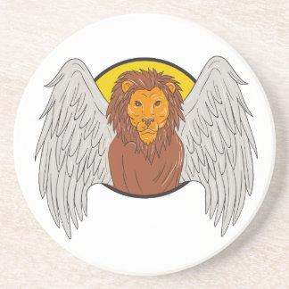 Winged Lion Head Circle Drawing Coaster