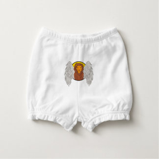Winged Lion Head Circle Drawing Diaper Cover
