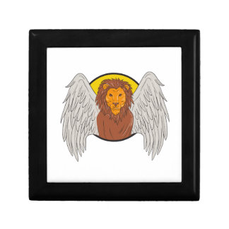 Winged Lion Head Circle Drawing Gift Box
