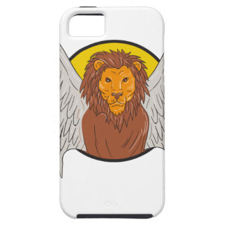 Winged Lion Head Circle Drawing iPhone 5 Case