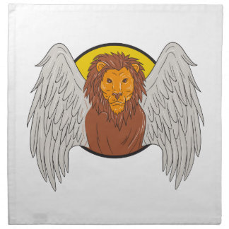 Winged Lion Head Circle Drawing Napkin