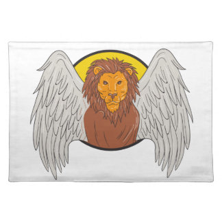 Winged Lion Head Circle Drawing Placemat