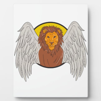 Winged Lion Head Circle Drawing Plaque