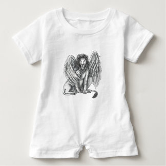 Winged Lion Protecting Cub Tattoo Baby Romper