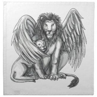 Winged Lion Protecting Cub Tattoo Napkin