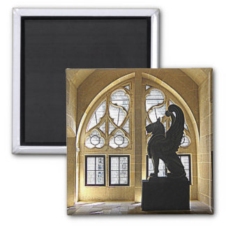 Winged Lion Statue Square Magnet