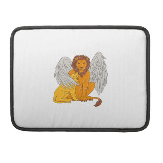 Winged Lion With Cub Under Its Wing Drawing Sleeve For MacBook Pro