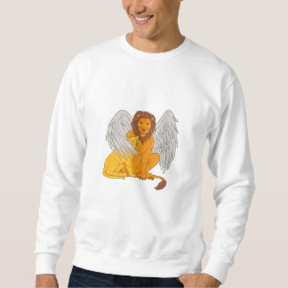 Winged Lion With Cub Under Its Wing Drawing Sweatshirt
