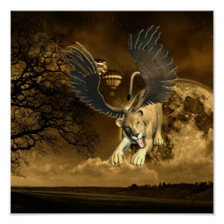 Winged Lioness  Poster Print