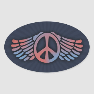 Winged Peace Oval Sticker