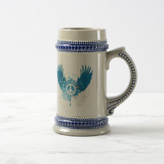 Winged Peace Sign Beer Stein