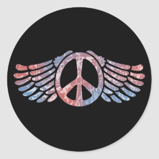 Winged Peace Symbol Classic Round Sticker