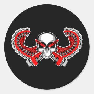 Winged Plumber Skull Classic Round Sticker