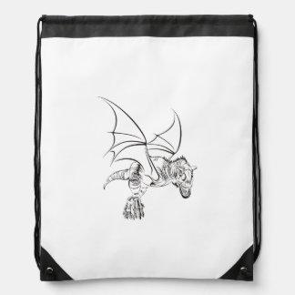 Winged Raptor / Tribal Drawstring Bag