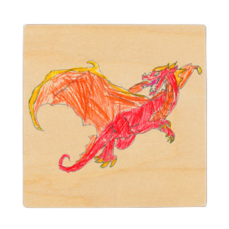 Winged Red Dragon Maple Wood Coaster