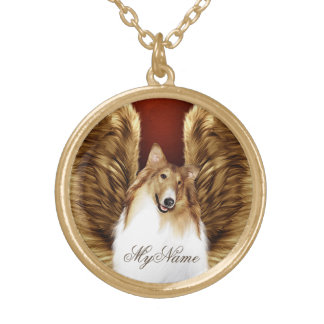 Winged Sable Collie Angel on Purple Gold Plated Necklace