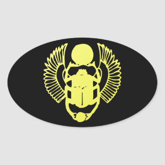Winged Scarab Oval Sticker