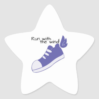 Winged Shoes Run with the Wind! Star Sticker