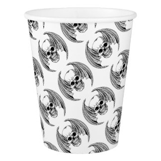 Winged Skull Etching Style Paper Cup
