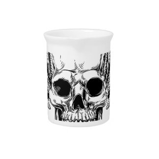 Winged Skull Etching Style Pitcher