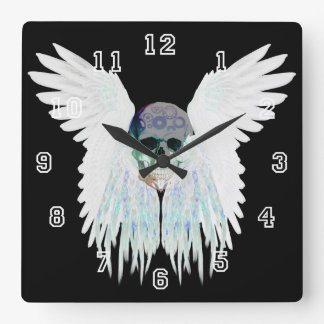 Winged Skull Gothic Design Perfect for Halloween Wall Clocks