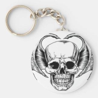 Winged Skull Grim Reaper Basic Round Button Keychain
