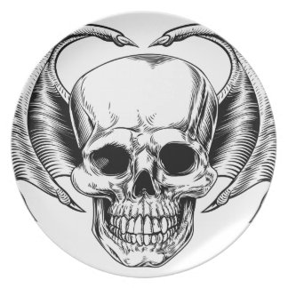Winged Skull Grim Reaper Plate