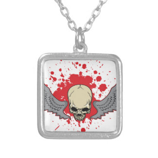 Winged-Skull Silver Plated Necklace