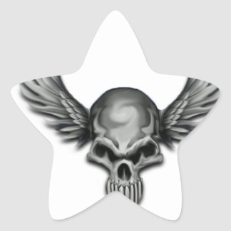 Winged Skull Star Sticker