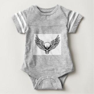 Winged Skull Vintage Engraved Woodcut Style Baby Bodysuit