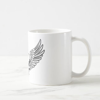 Winged Skull Vintage Engraved Woodcut Style Coffee Mug