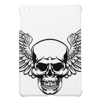 Winged Skull Vintage Engraved Woodcut Style iPad Mini Cover