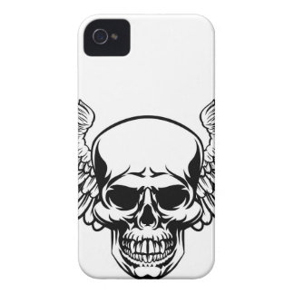 Winged Skull Vintage Engraved Woodcut Style iPhone 4 Case