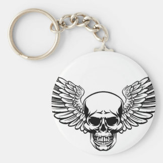 Winged Skull Vintage Engraved Woodcut Style Keychain