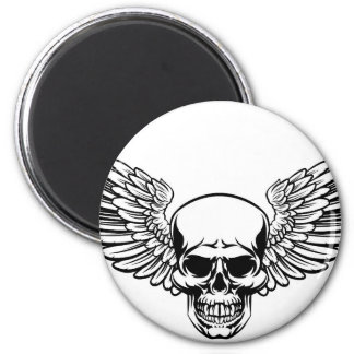 Winged Skull Vintage Engraved Woodcut Style Magnet