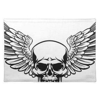 Winged Skull Vintage Engraved Woodcut Style Placemat