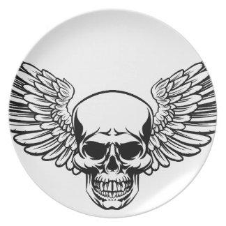 Winged Skull Vintage Engraved Woodcut Style Plate