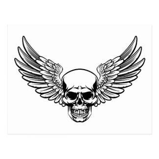 Winged Skull Vintage Engraved Woodcut Style Postcard