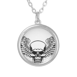Winged Skull Vintage Engraved Woodcut Style Silver Plated Necklace