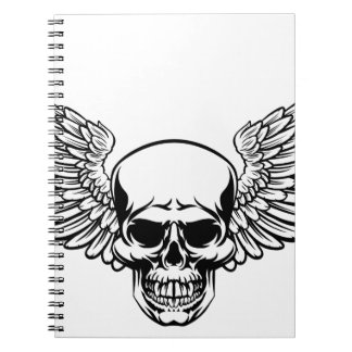 Winged Skull Vintage Engraved Woodcut Style Spiral Notebook