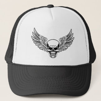 Winged Skull Vintage Engraved Woodcut Style Trucker Hat
