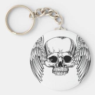 Winged Skull Vintage Retro Woodcut Style Keychain