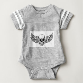 Winged Skull Vintage Woodcut Etched Style Baby Bodysuit