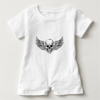 Winged Skull Vintage Woodcut Etched Style Baby Romper