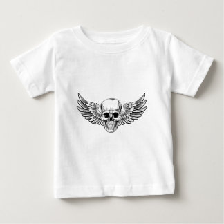 Winged Skull Vintage Woodcut Etched Style Baby T-Shirt