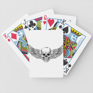 Winged Skull Vintage Woodcut Etched Style Bicycle Playing Cards
