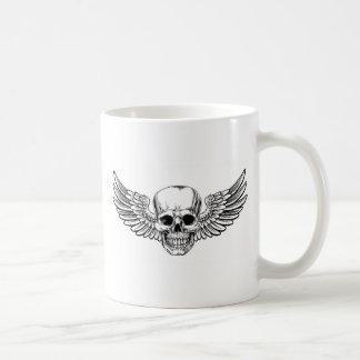 Winged Skull Vintage Woodcut Etched Style Coffee Mug